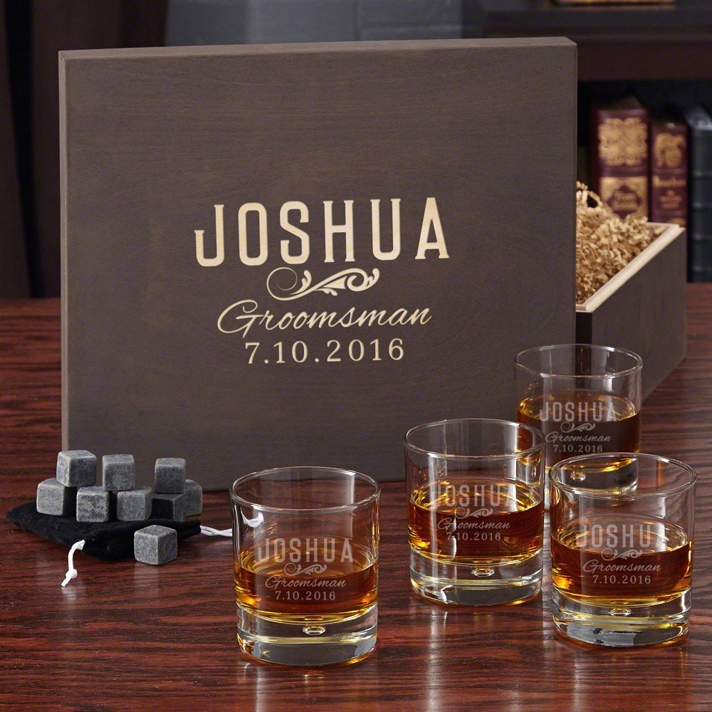Classic Groomsman Engraved Whiskey Glass Set with Gift Box