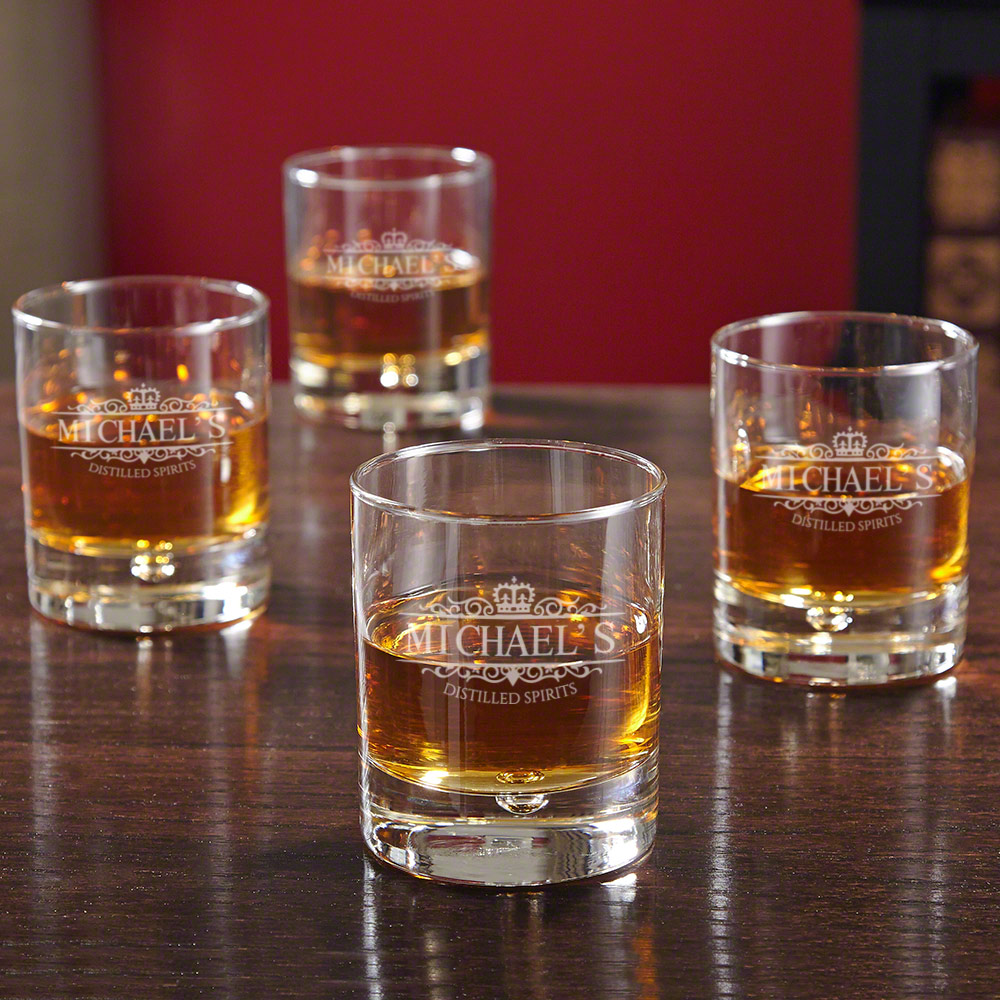Bryne Kensington Personalized Whiskey Glasses, Set of 4