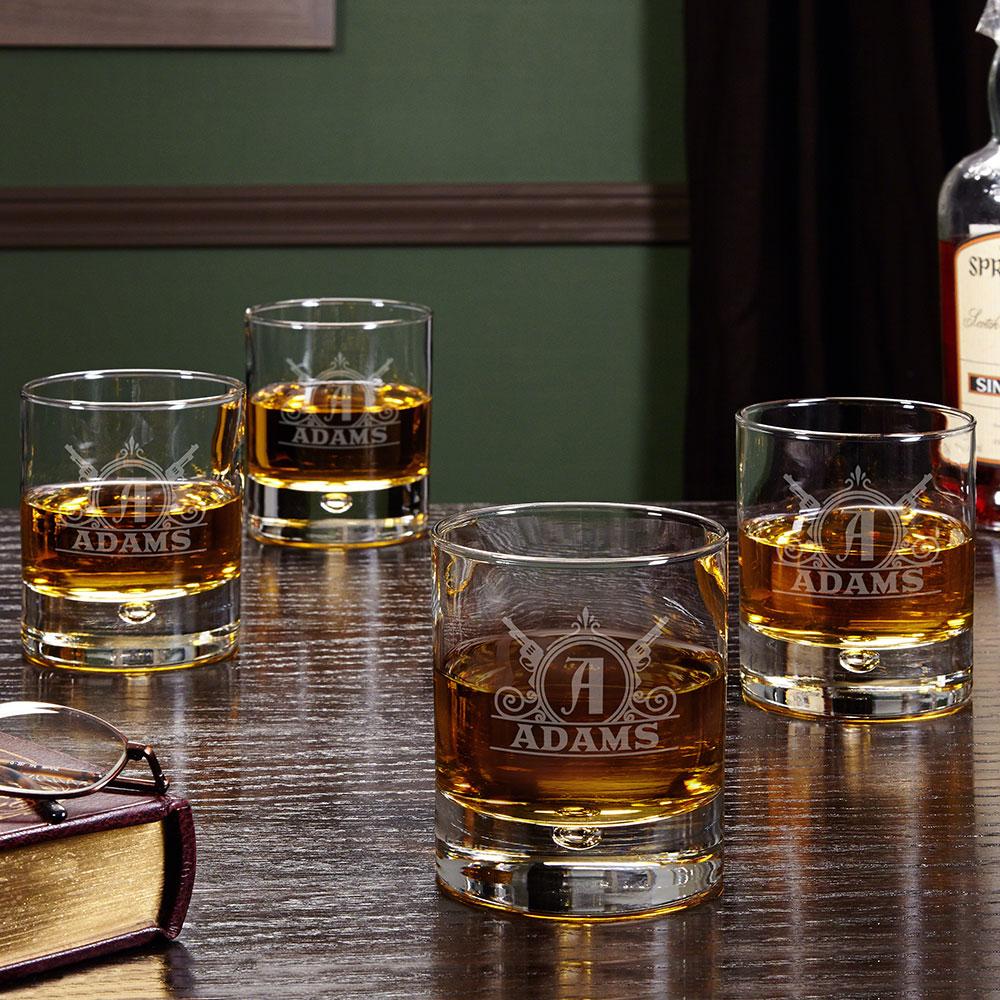 Roosevelt Personalized Whiskey Glasses, Set of 4