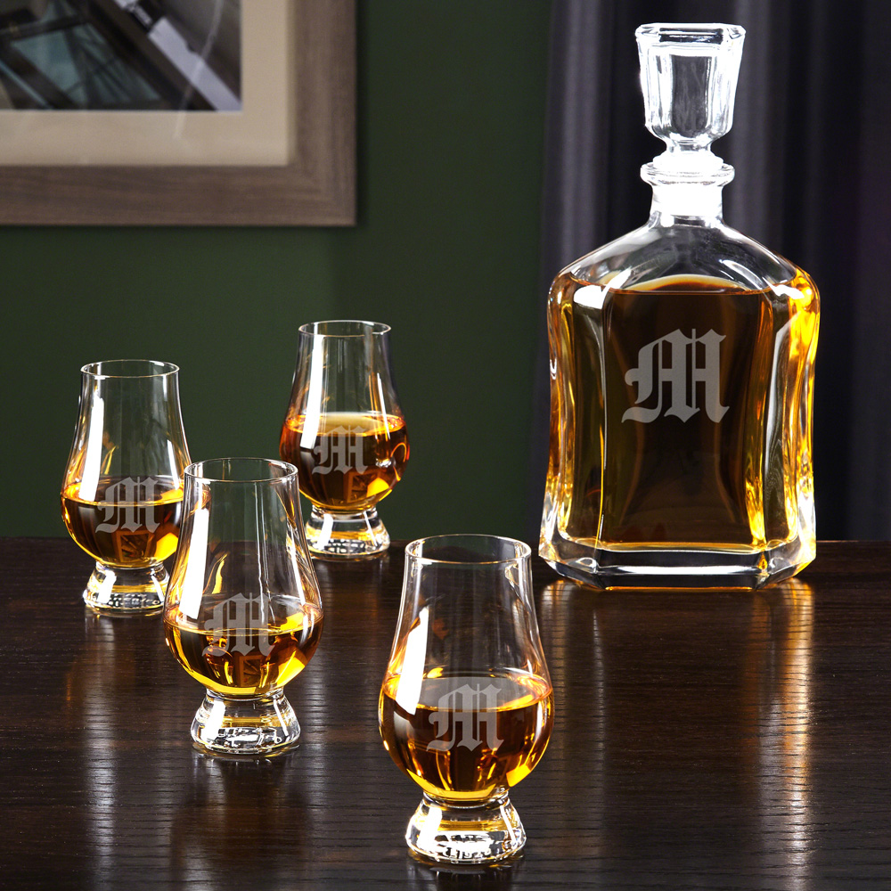 Personalized Glencairn Scotch Glasses and Argos Decanter