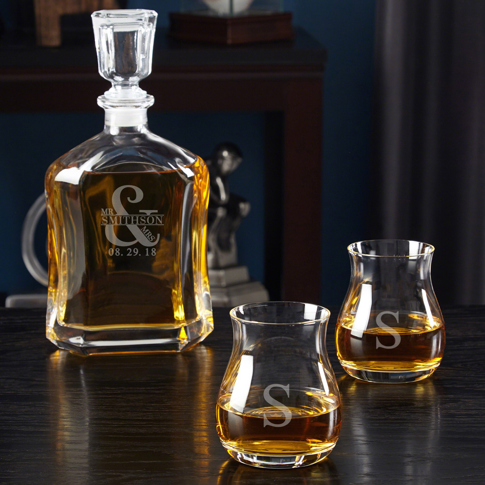 Love & Marriage Decanter with Glencairn Crystal Whiskey Glasses