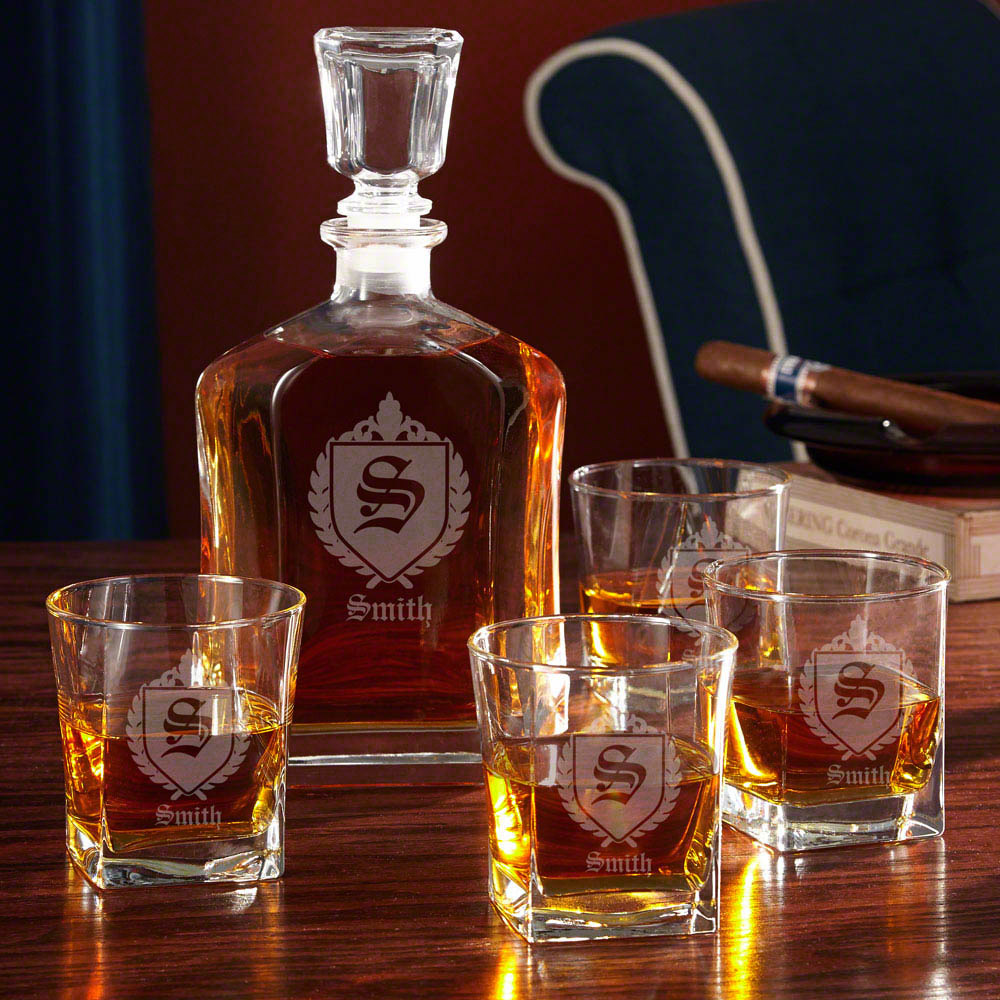 Oxford Monogrammed Whiskey Gift Set with Decanter