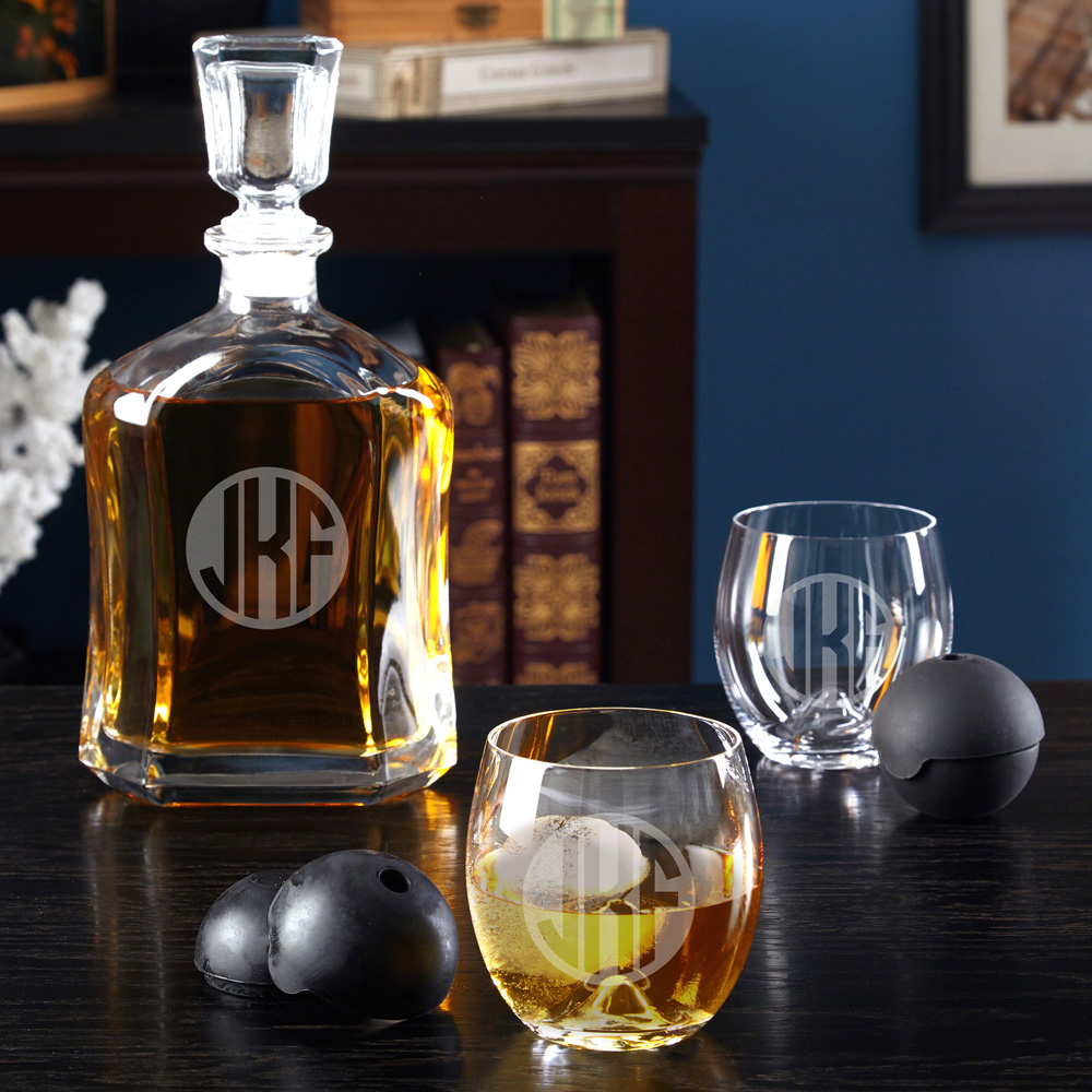 Circle Monogram Roller Rocks + Whiskey Decanter Set