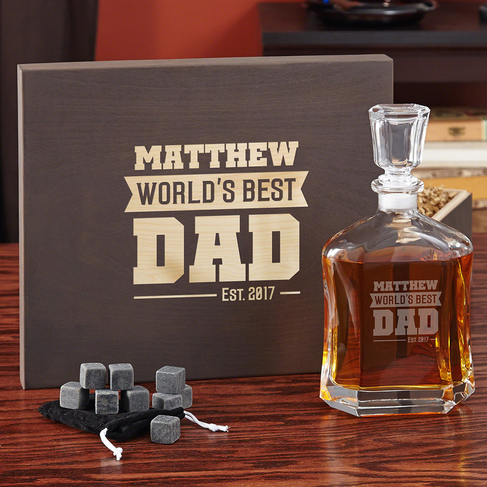 Worlds Best Dad - Argos Decanter Set with Wood Gift Box