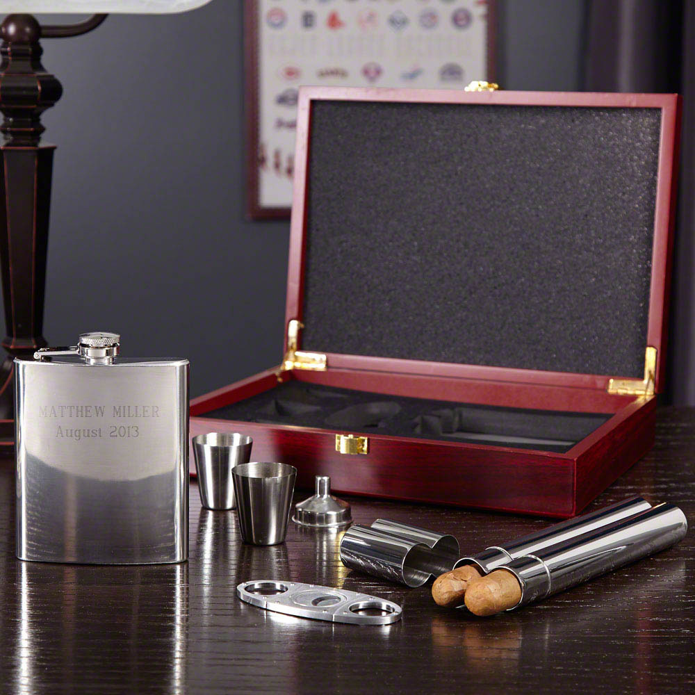 Byrne Flask and Cigar Gift Set , 6-piece (Engravable)
