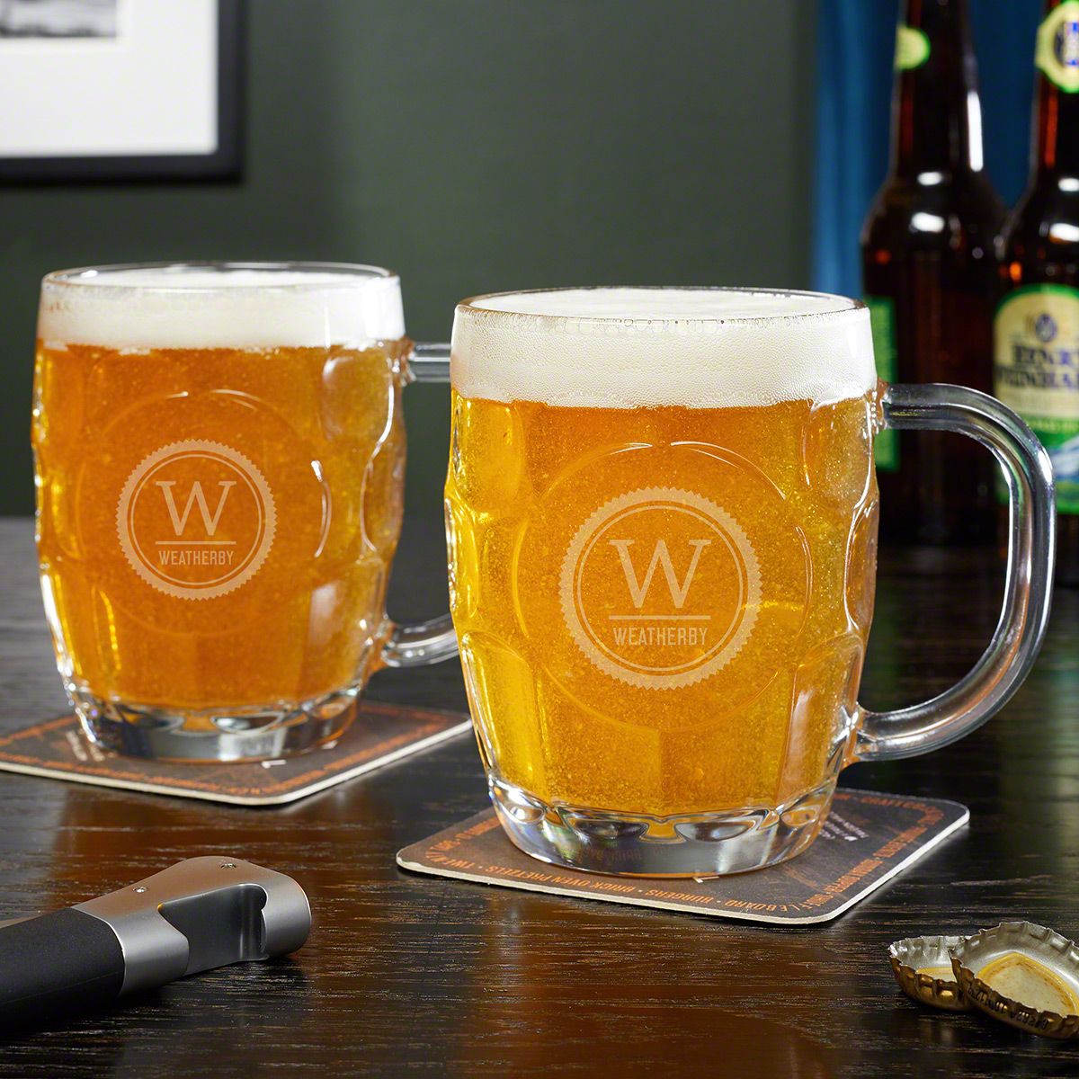 Thurston Monogram Dimpled Beer Steins, Set of 2