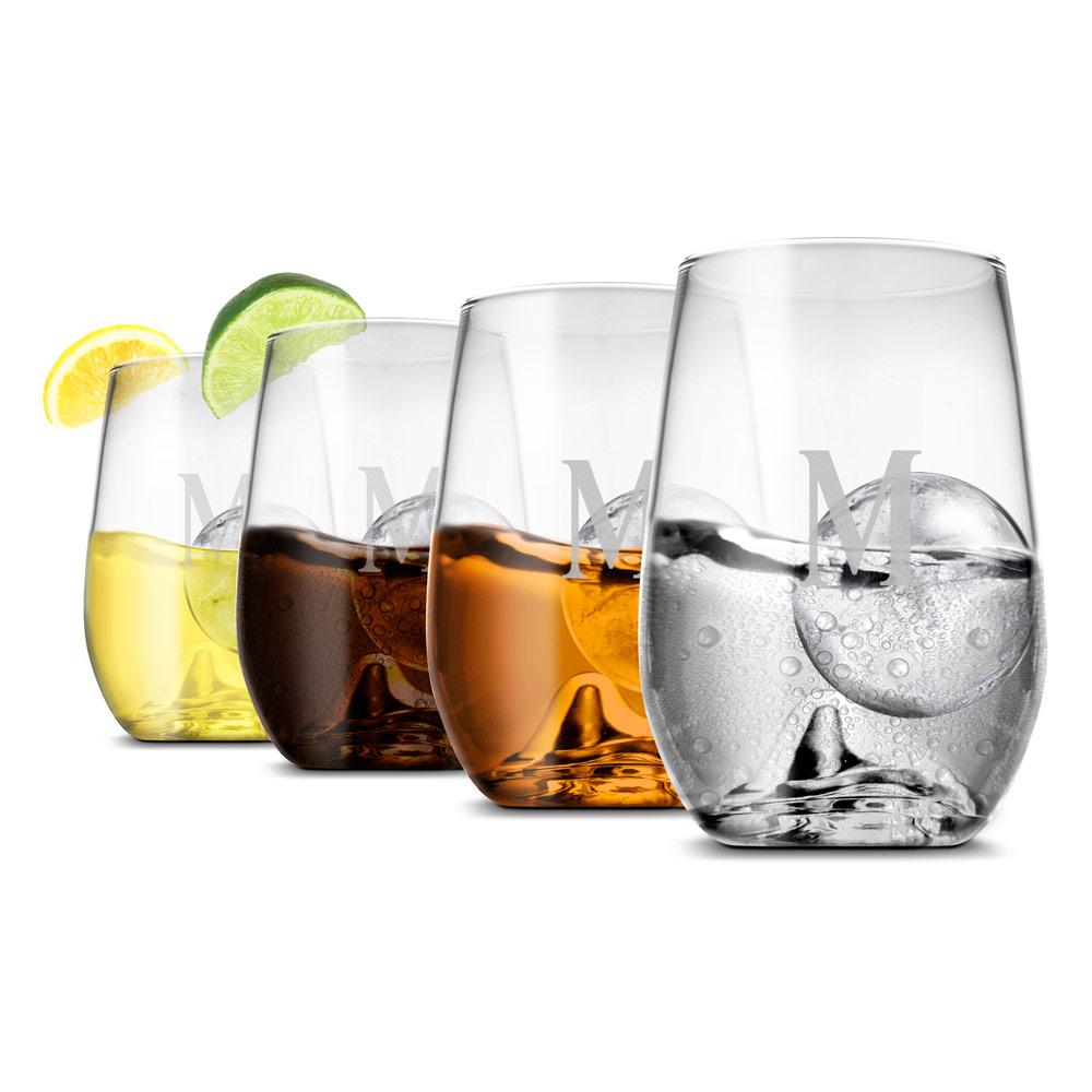 Cocktail Roller Rock Glasses, Set of 4 (Engravable)