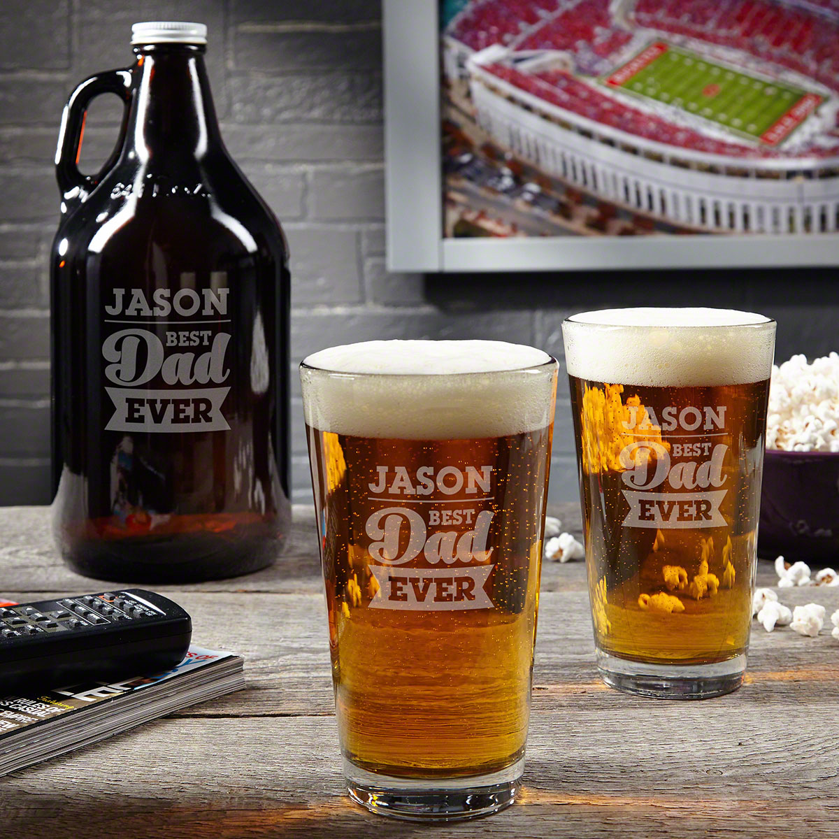 For the Best Dad Gift Set - Personalized Beer Glasses and Growler