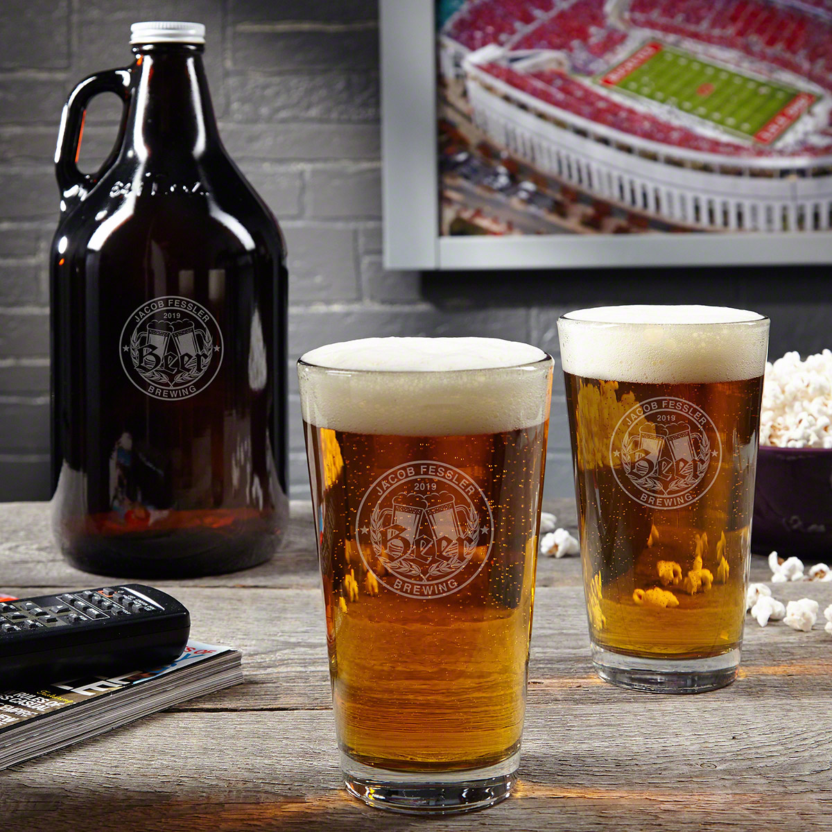 Bierhaus Monogrammed Beer Growler Gift Set