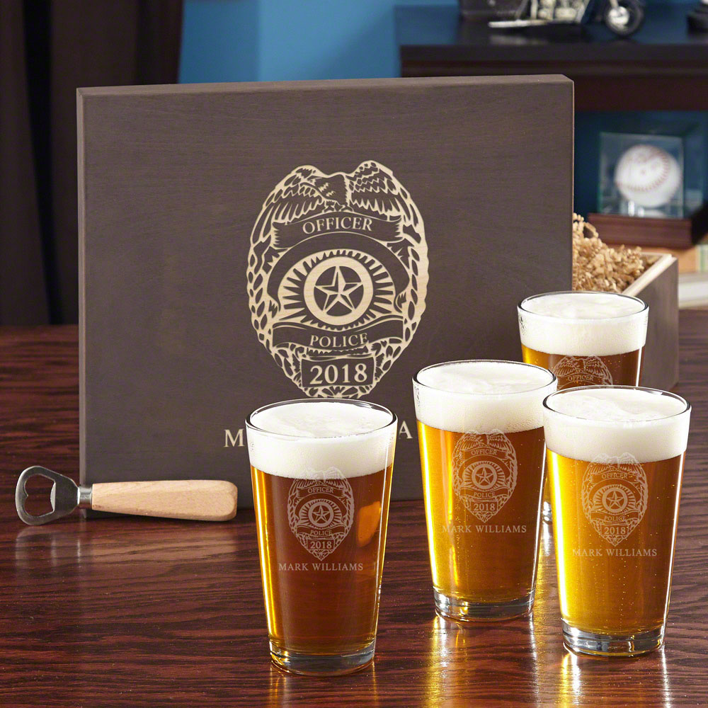 Police Badge Beer Glass Set with Custom Wood Gift Box