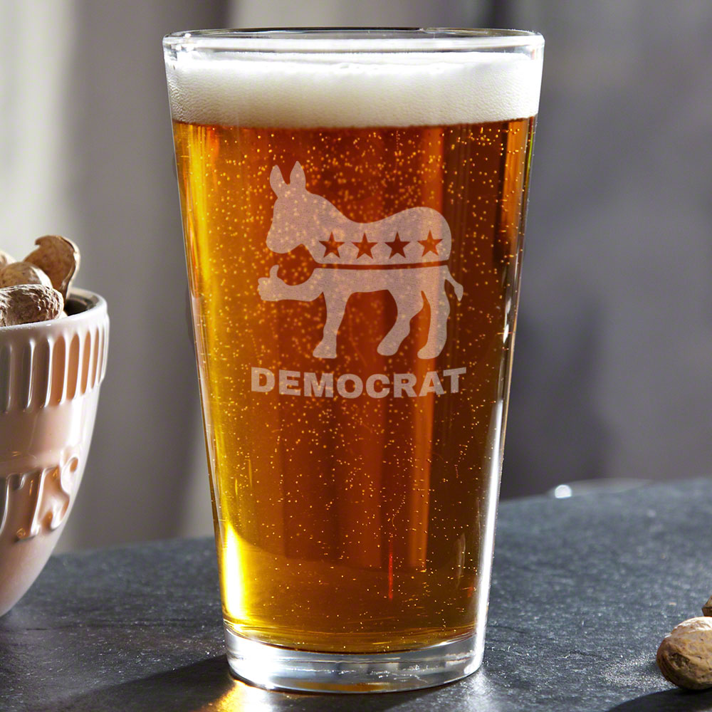 Thumbs Up Democrat Engraved Beer Glass