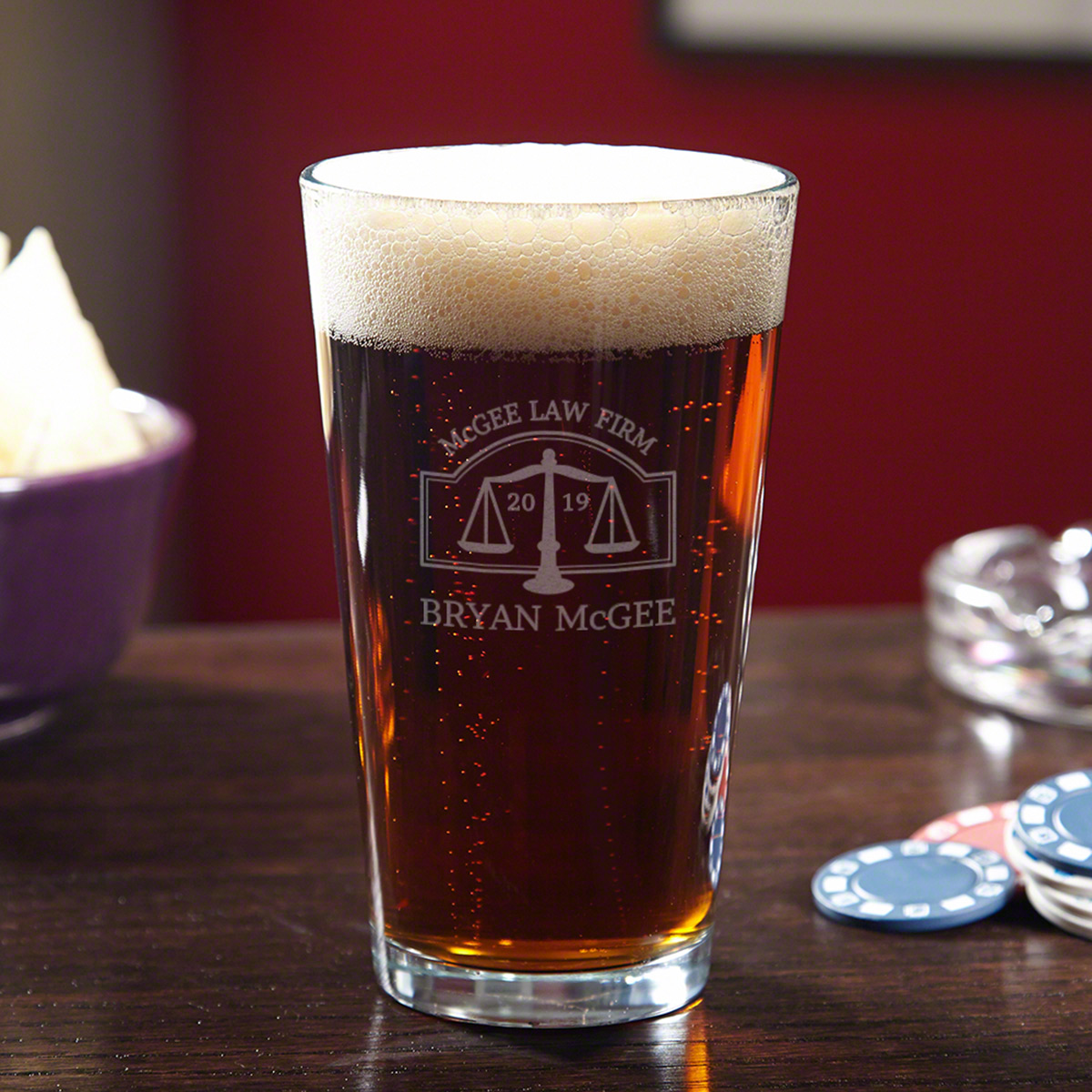 Hamilton Engraved Pint Glass for Lawyers