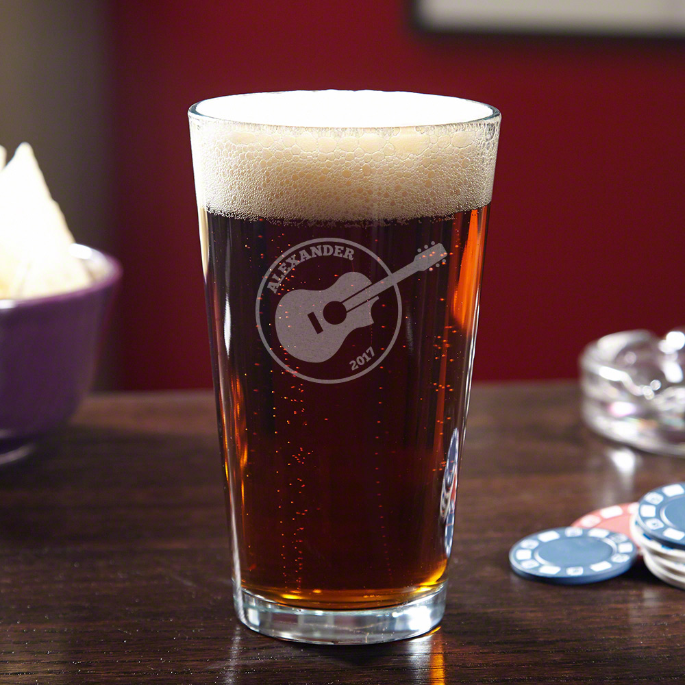 Acoustics Personalized Pint Glass for Guitar Lovers