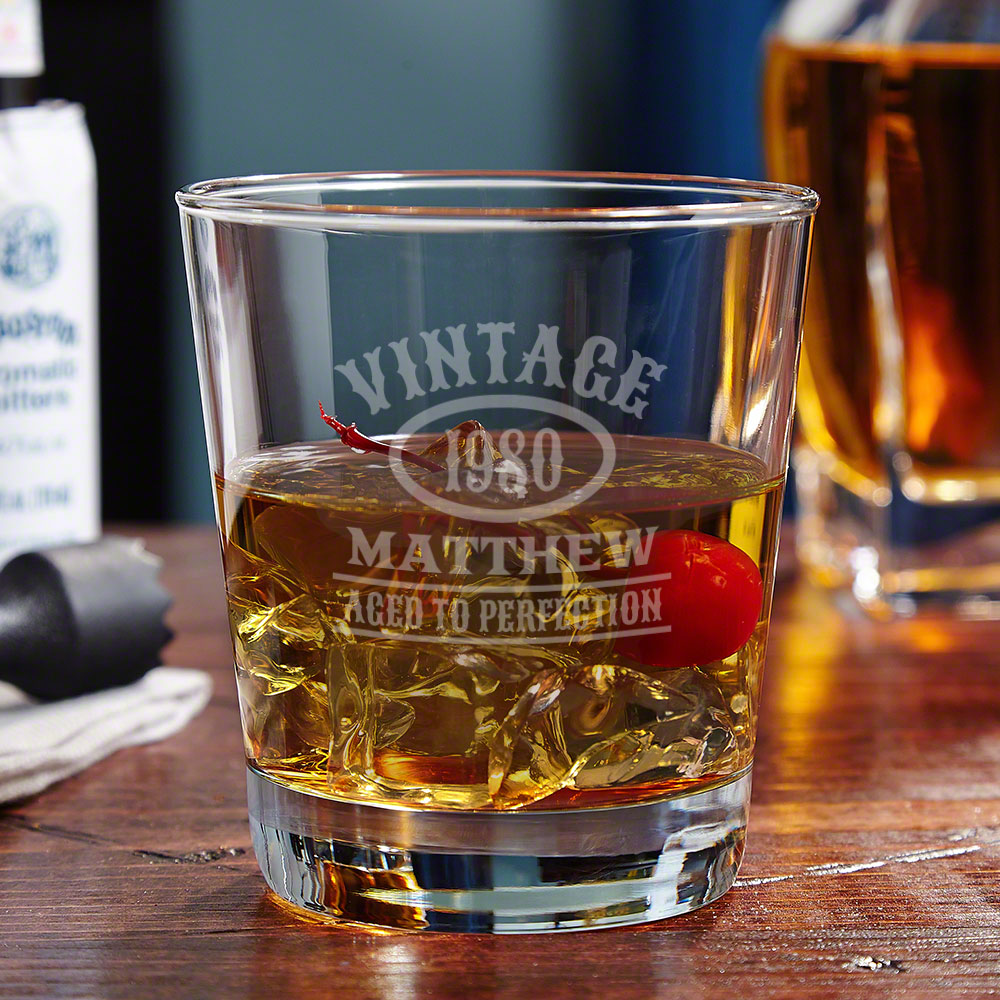 Aged to Perfection Personalized On the Rocks Glass