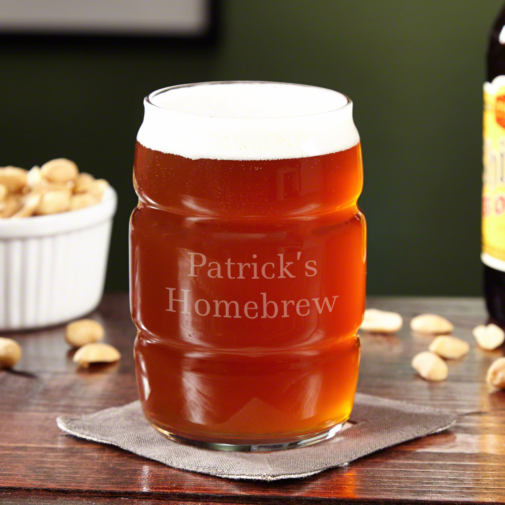 Personalized Rolling Barrel  Beer Glass, 16oz