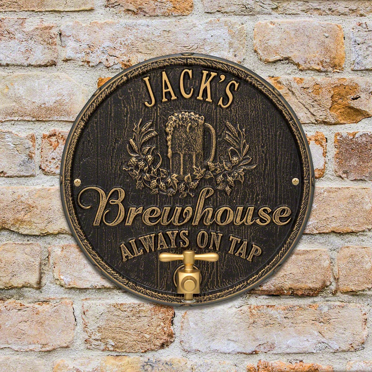 Oak Barrel Beer Pub Custom House Plaque - 7 Color Options