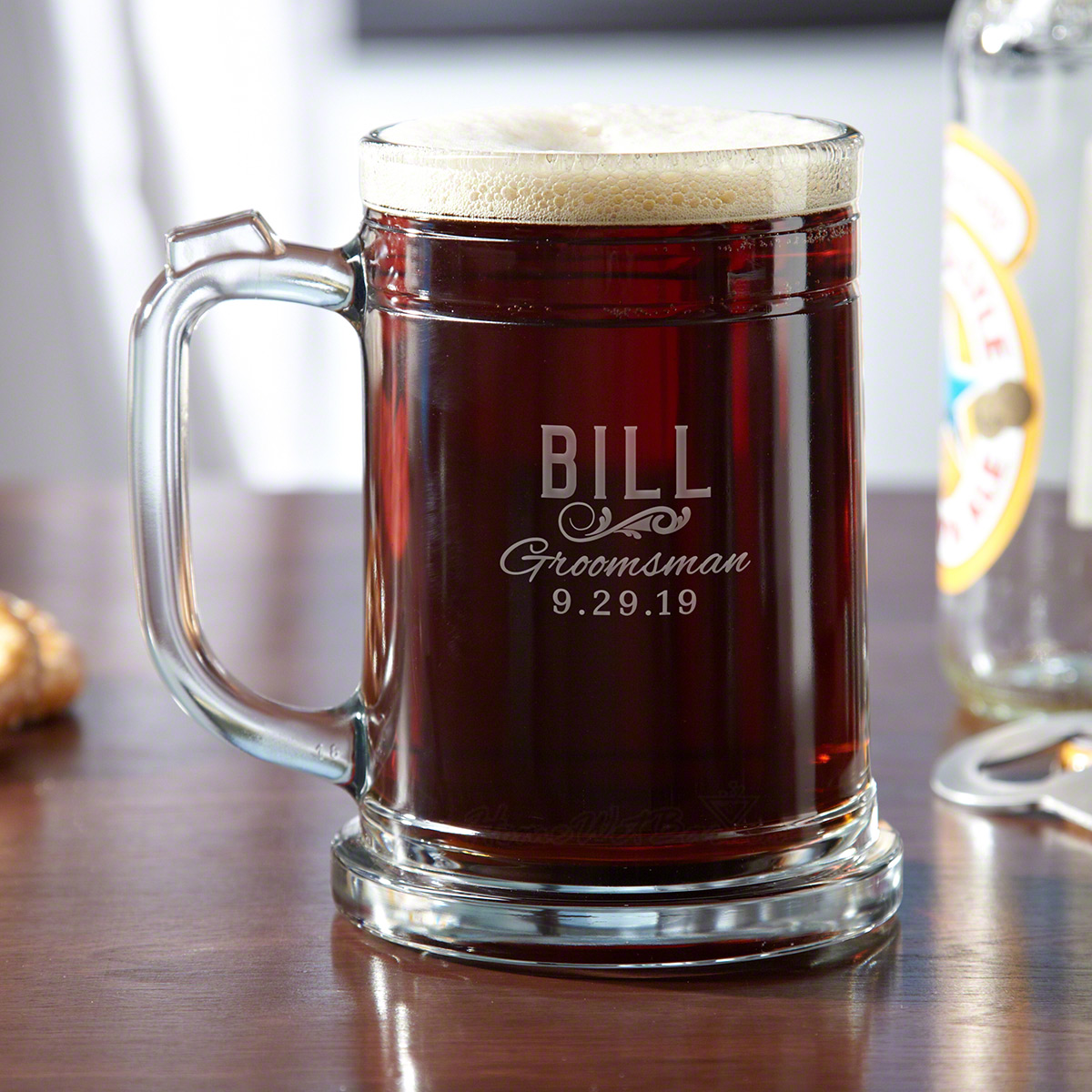 When it comes time to toast the happy new couple, the occasion calls for our Classic Groomsman engraved pint mugs. The ideal gift for bridesmaids, groomsmen, and even the best man, these clear glass beer steins are personalized with the name, title, and d #mug
