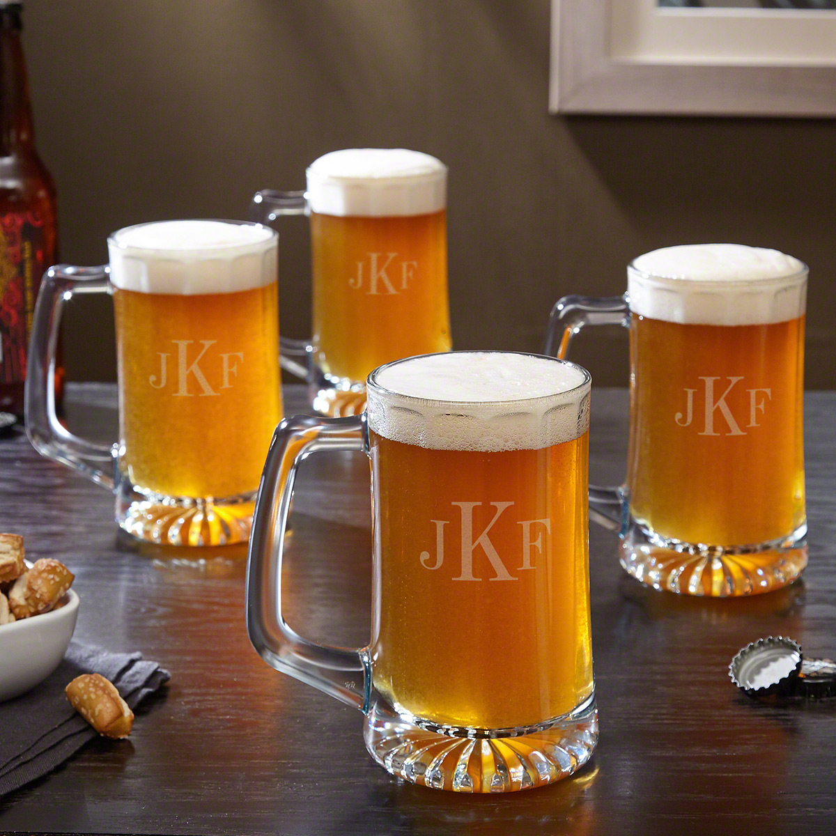 Contempo-Faceted-Glass-Beer-Mug-Set-of-4-(Engravable)