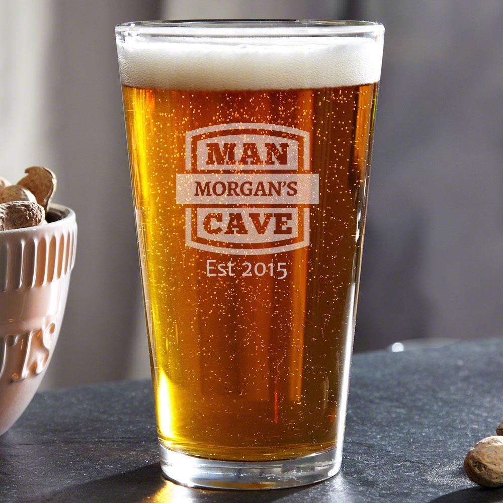 Man Cave Custom Pint Glass