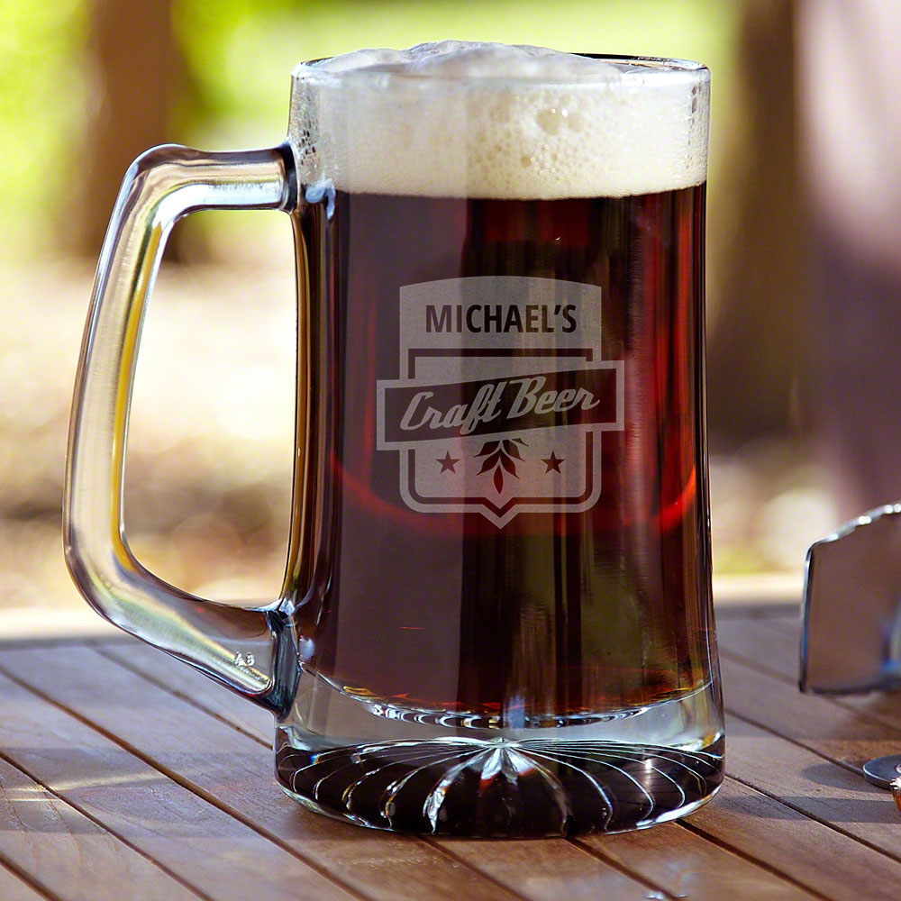 Belly up to the bar with our premium personalized beer mug! Each custom beer mug features a sleek, retro banner and the name of your choice engraved right into the glass, so it will never wear off or fade. An ideal gift for all home brewers or any lover o #mug