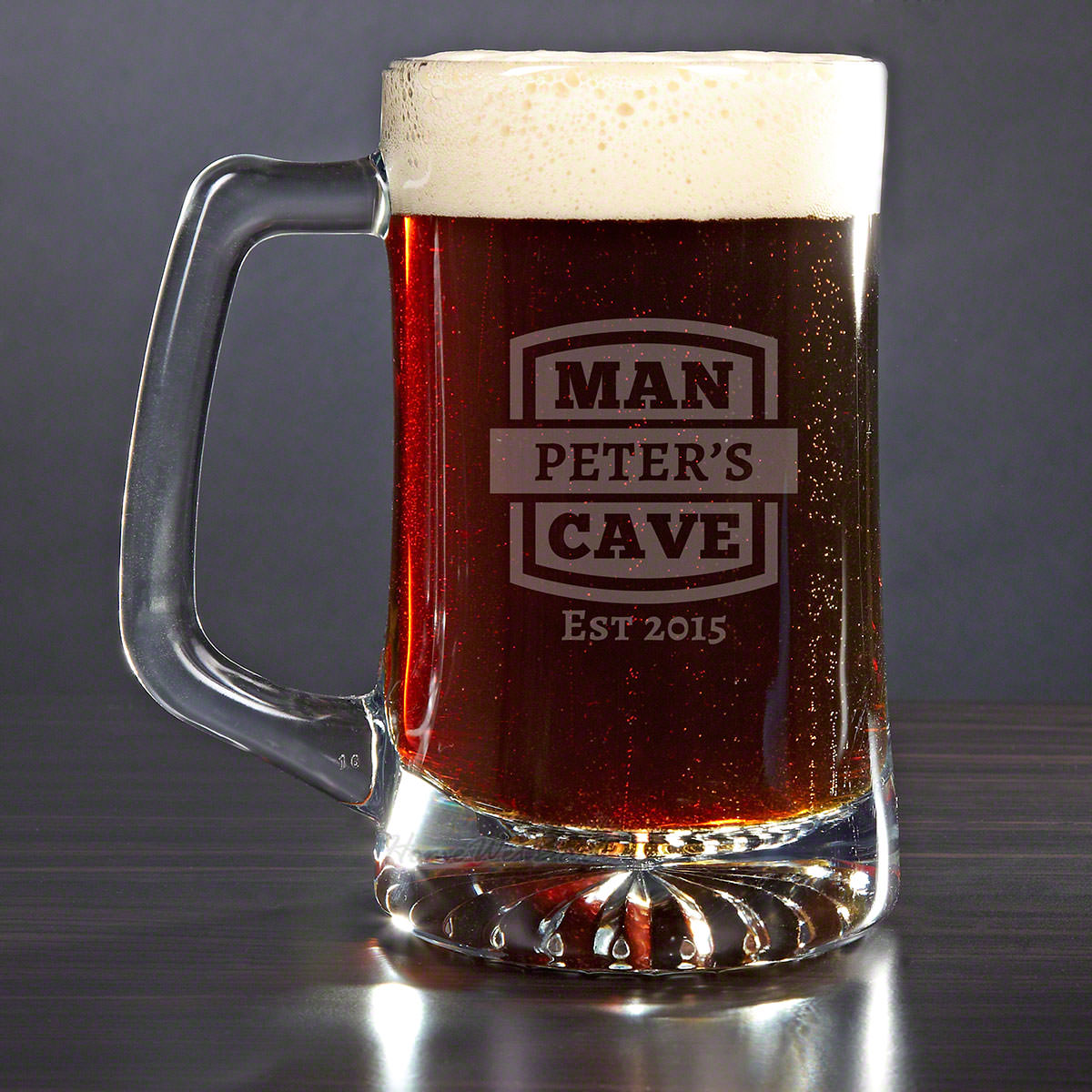 Man Cave Personalized Beer Mug with Name and Date