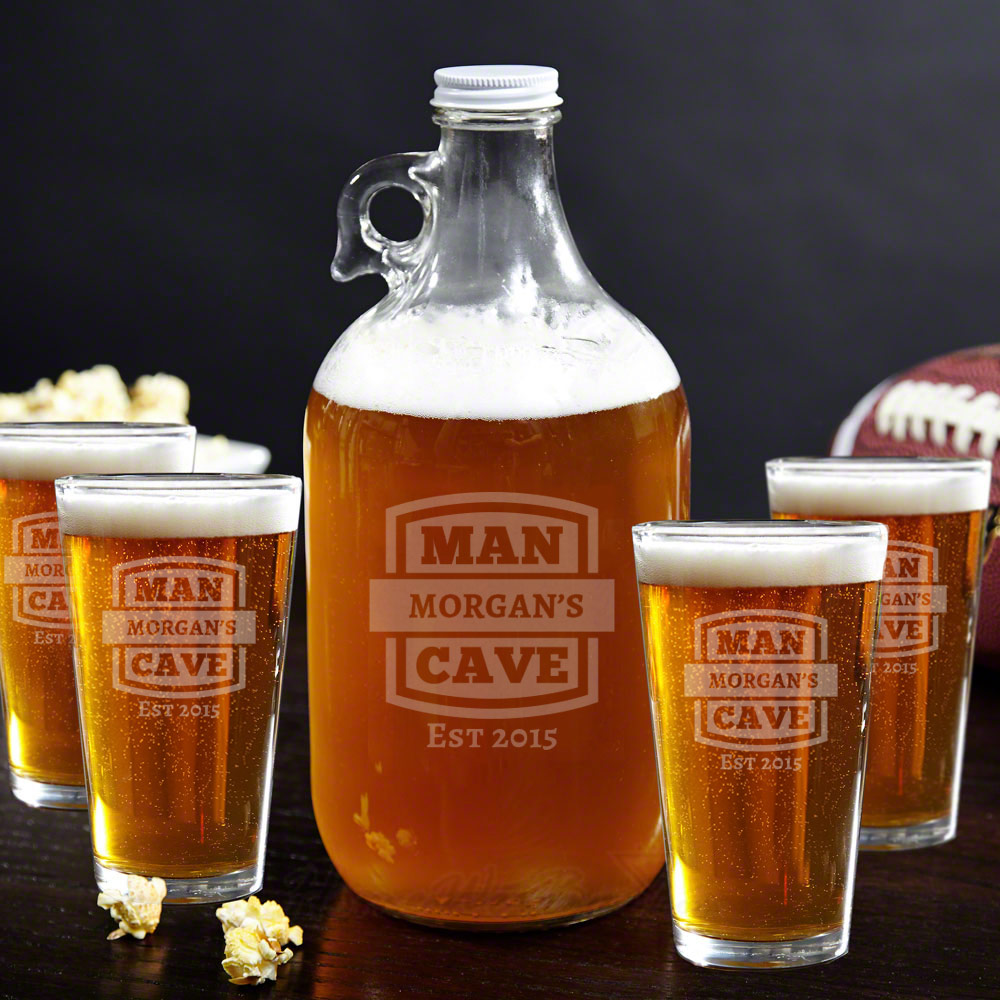 Man Cave Growler & Beer Glasses Gift Set
