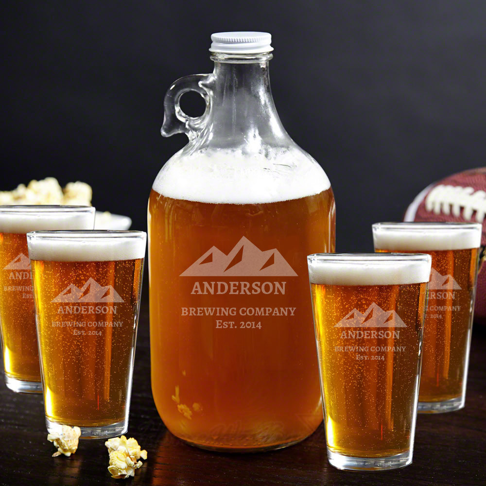 Rocky Mountains Growler and Beer Glass Gift Set