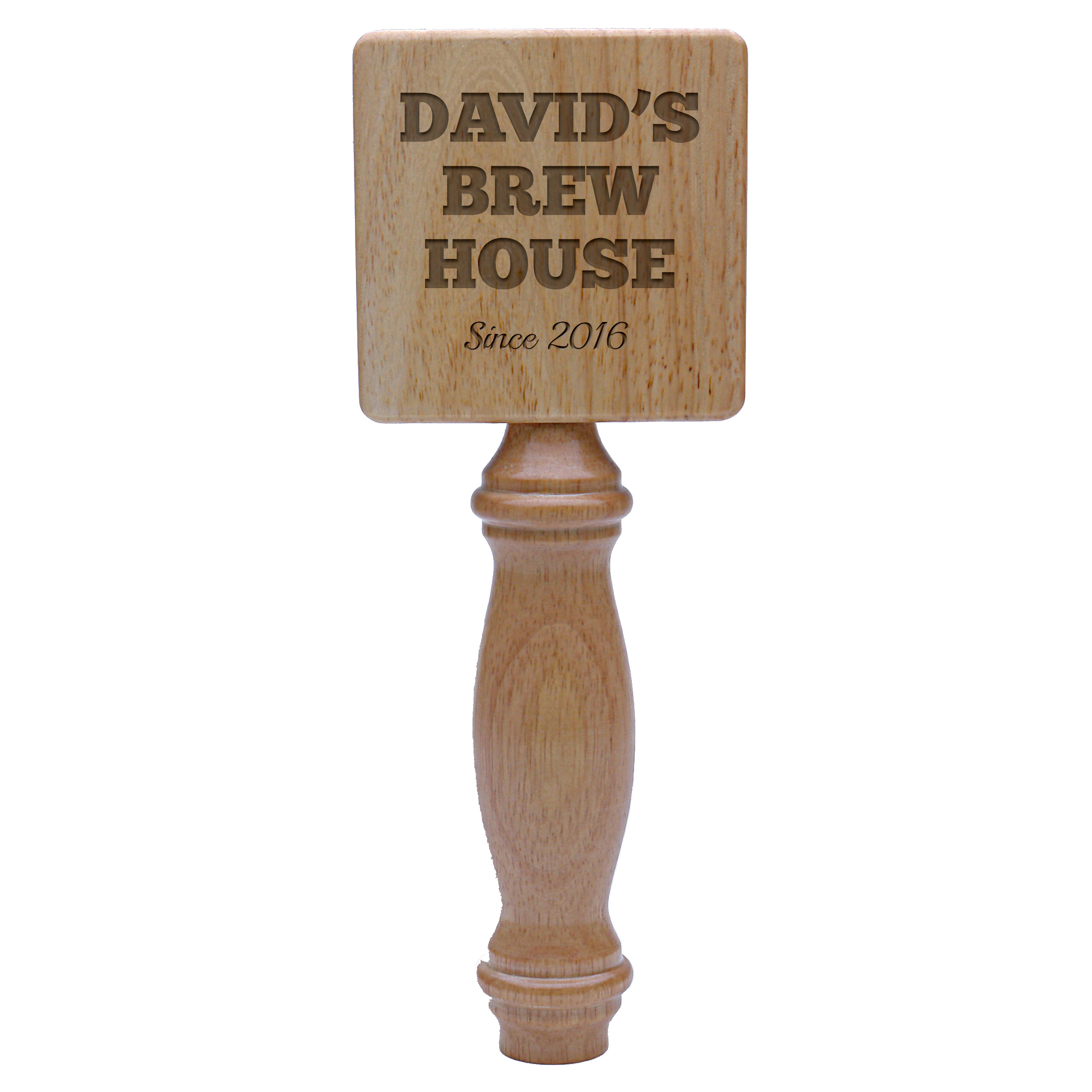 Custom Pub Style Square Natural Wood Tap Handle