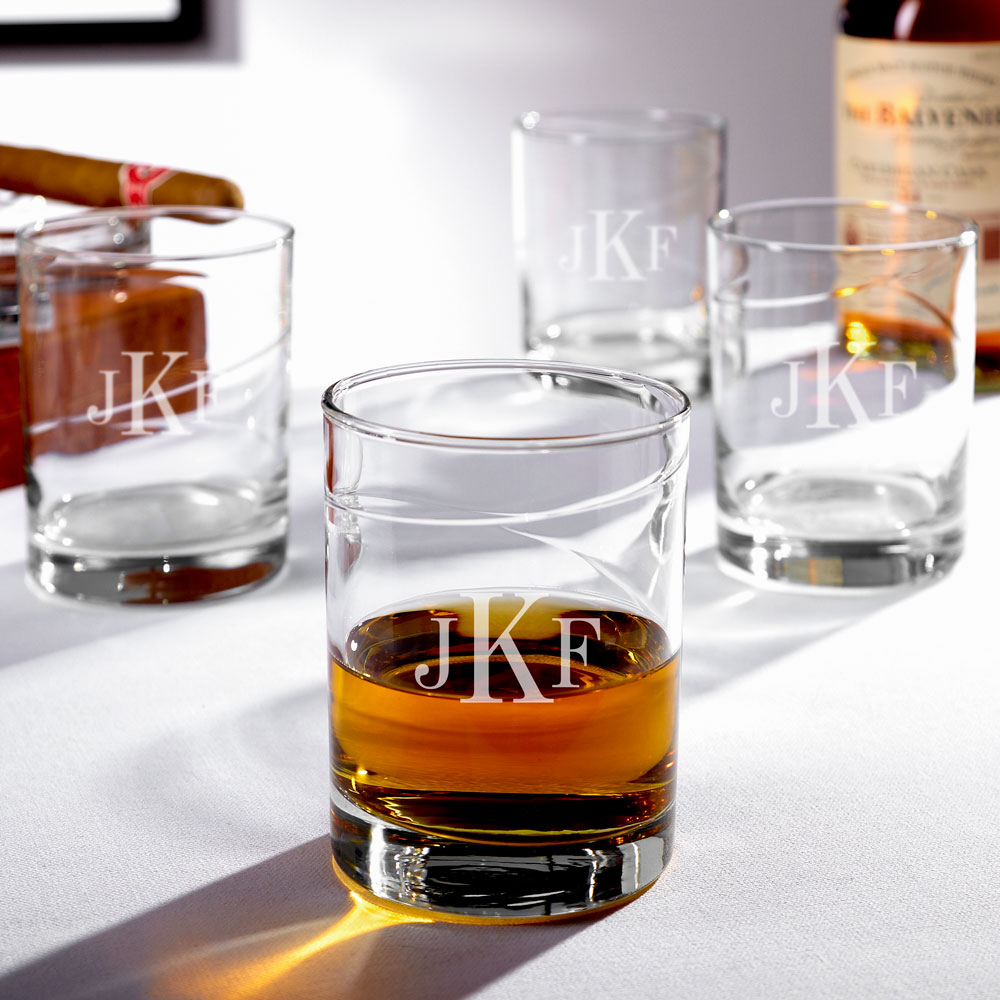 Vintage Islay Classic Monogram Whiskey Glasses, Set of 4