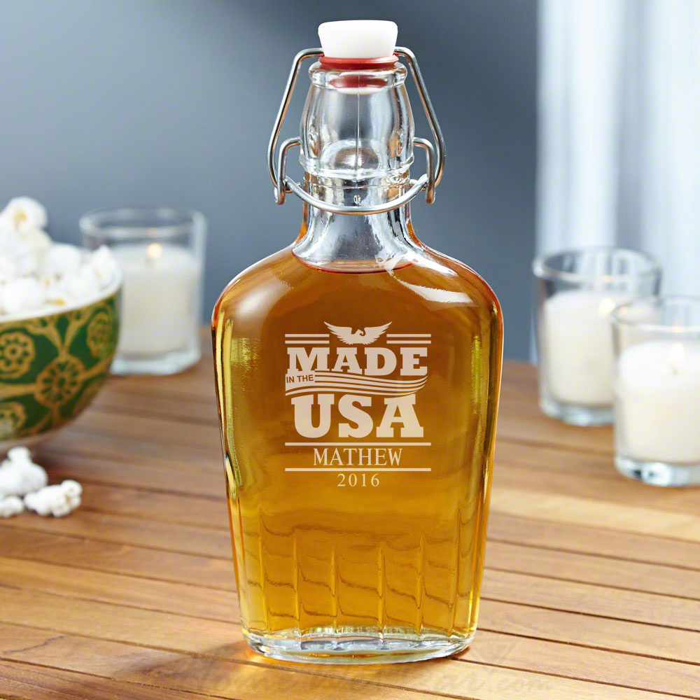 USA Made Personalized Glass Flask