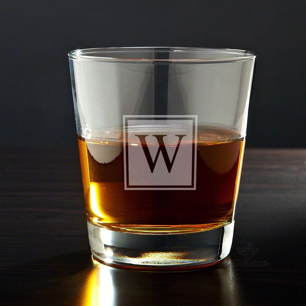 Block Monogram Personalized Whiskey Glass
