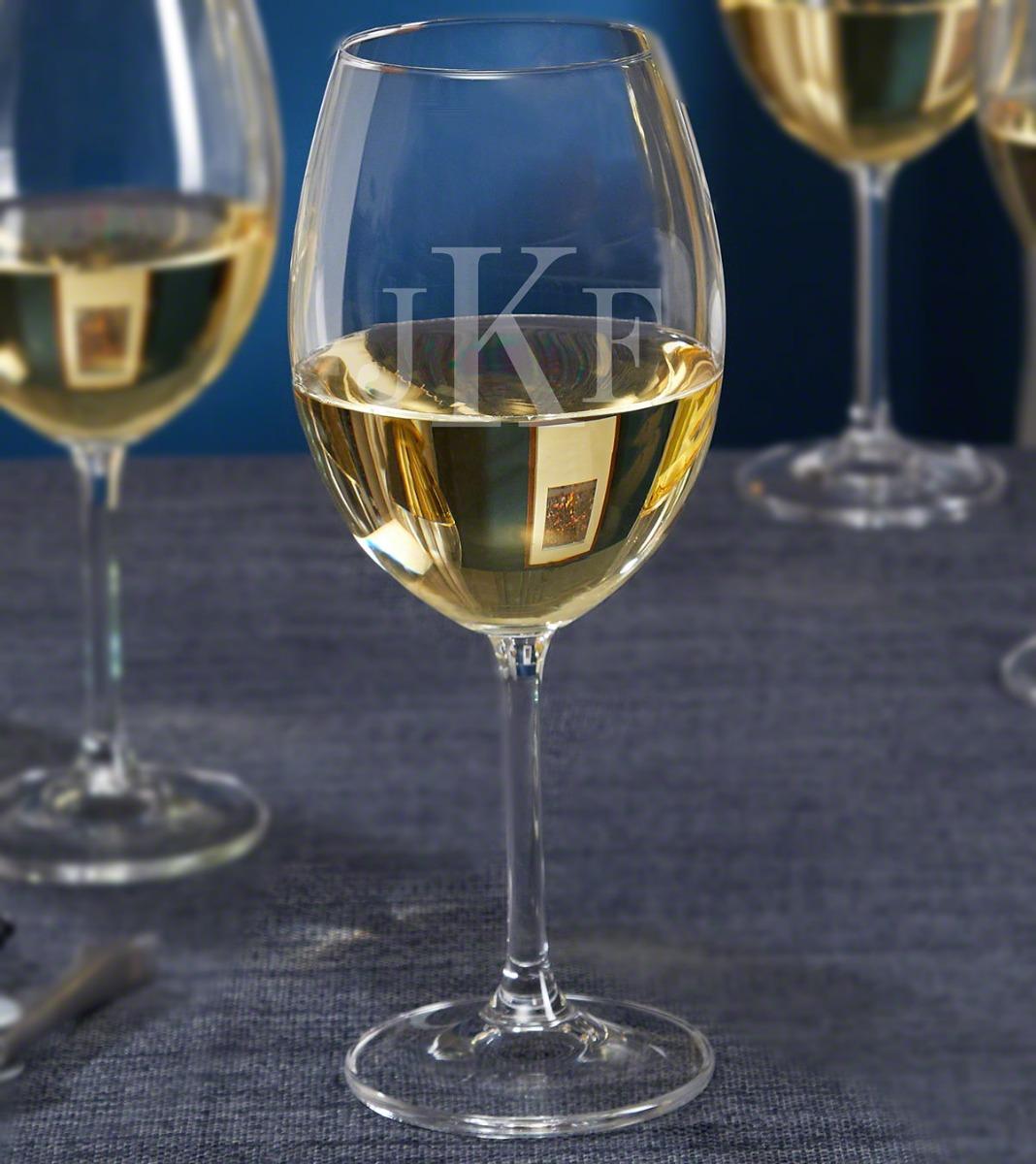 Monogrammed White Wine Glass, 16 oz