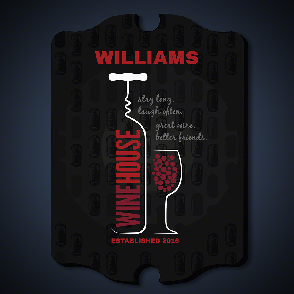 Wine House Personalized Bar Sign