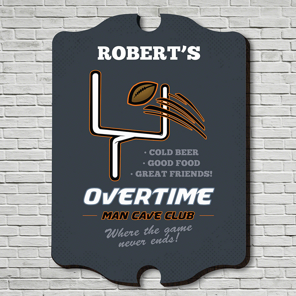 Overtime Man Cave Club Personalized Bar Sign