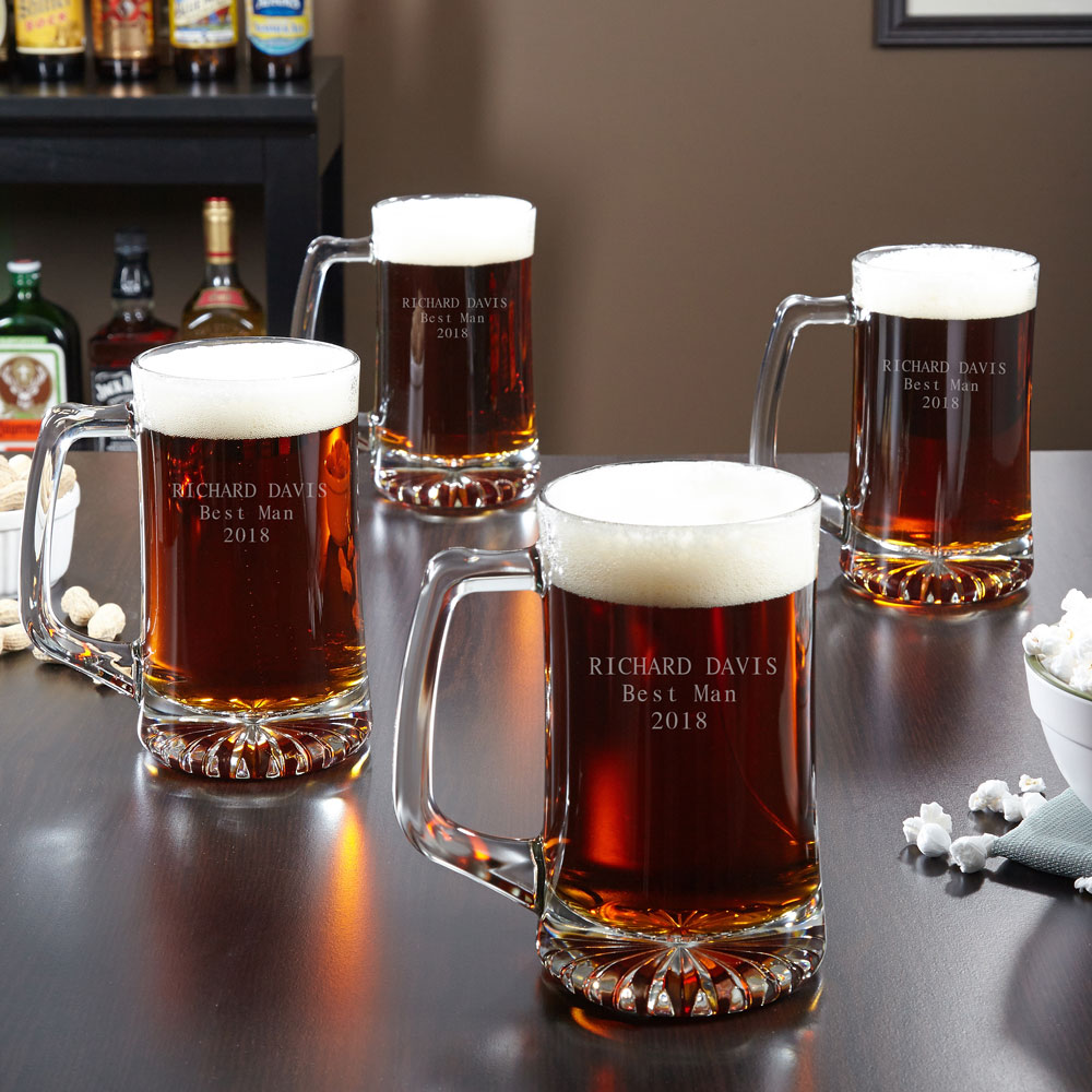 Personalized Beer Mugs, Set of 4 - 25 oz