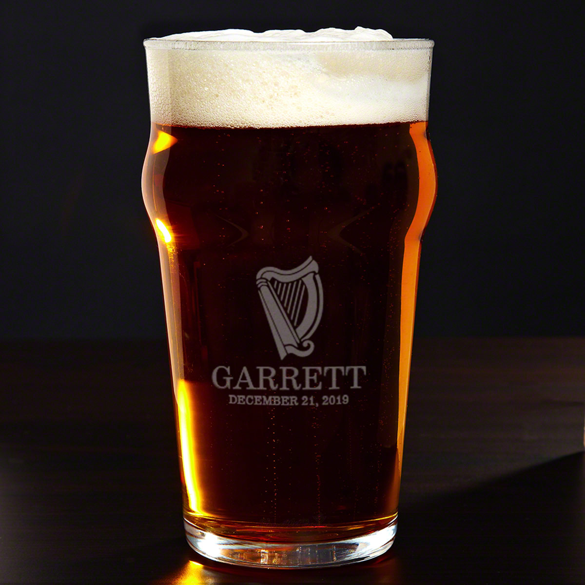 Celtic Harp Custom Pub Glass