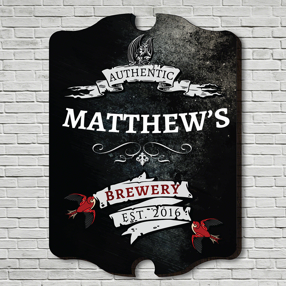 Gothic Brewery Personalized Wall Sign