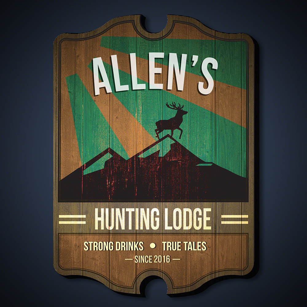 Strong & True Hunting Lodge Personalized Wall Sign