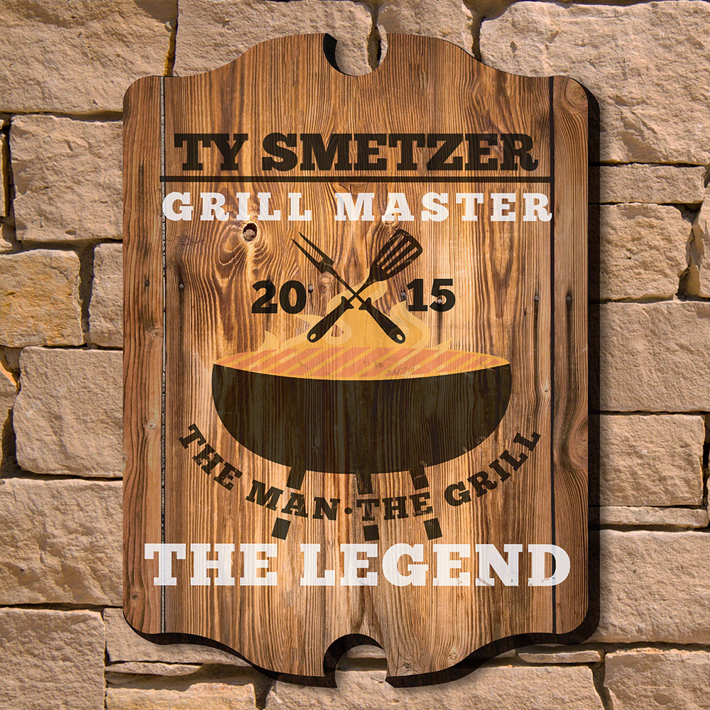 The Man The Grill The Legend Personalized Wall Sign