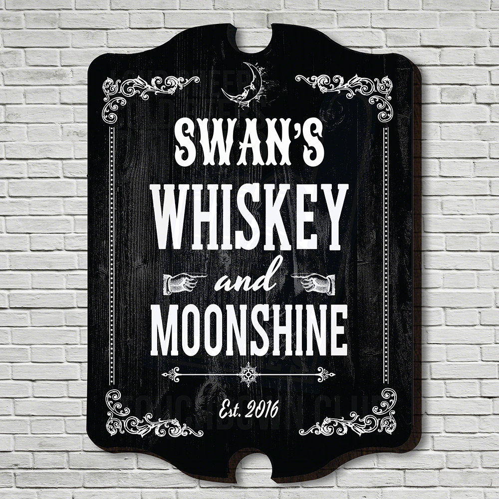 Whiskey & Moonshine Personalized Bar Sign