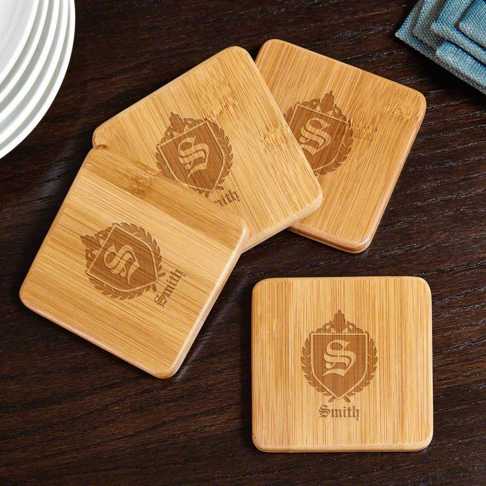 Oxford Personalized Bamboo Coasters