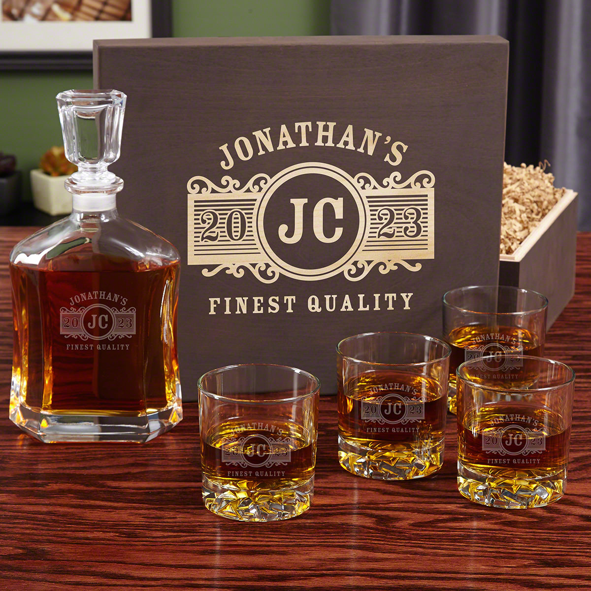 Marquee Personalized Decanter Set with Wood Gift Box