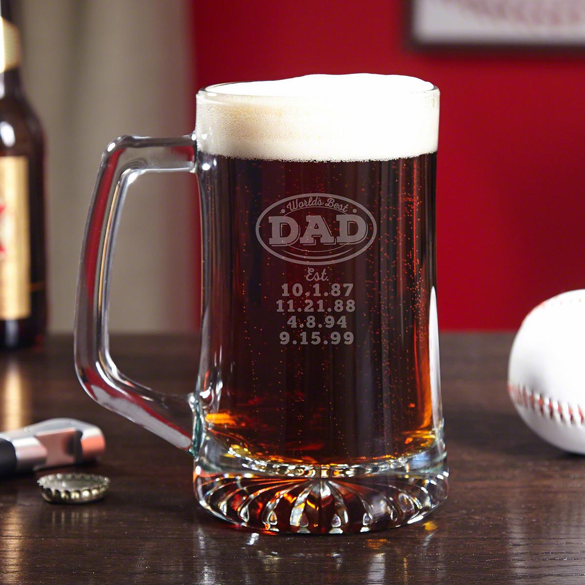 World's Best Dad - Engraved Beer Mug Gift for Dads