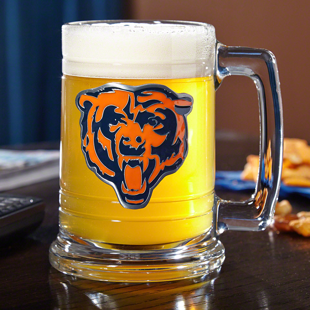 Engraved Beer Glass With Football Logo And Message