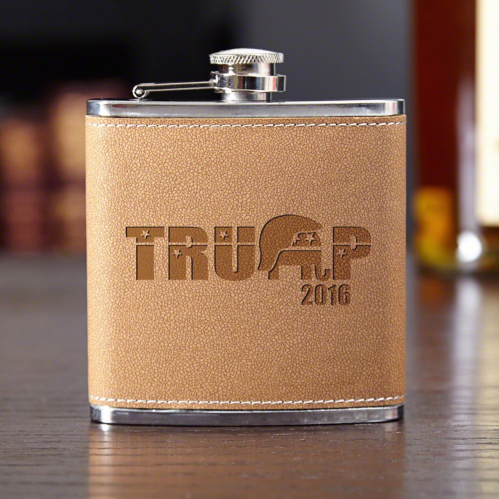 Support Trump Engraved Cocoa Faux Leather Flask