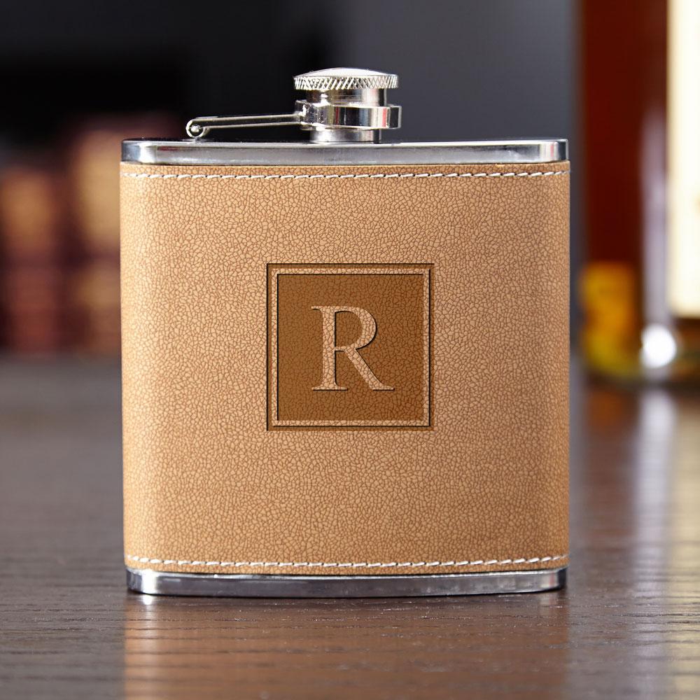 Cocoa-Leather-Block-Monogram-Hip-Flask