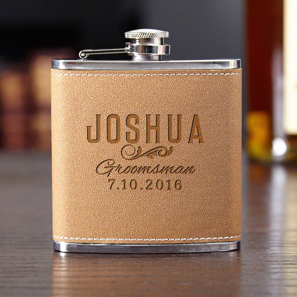 Classic Groomsman Gift Custom Cocoa Leather Flask