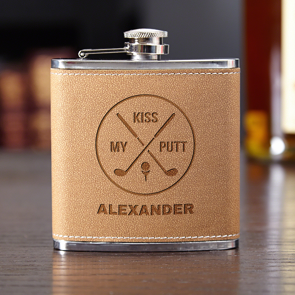 Kiss-My-Putt-Cocoa-Leather-Personalized-Hip-Flask