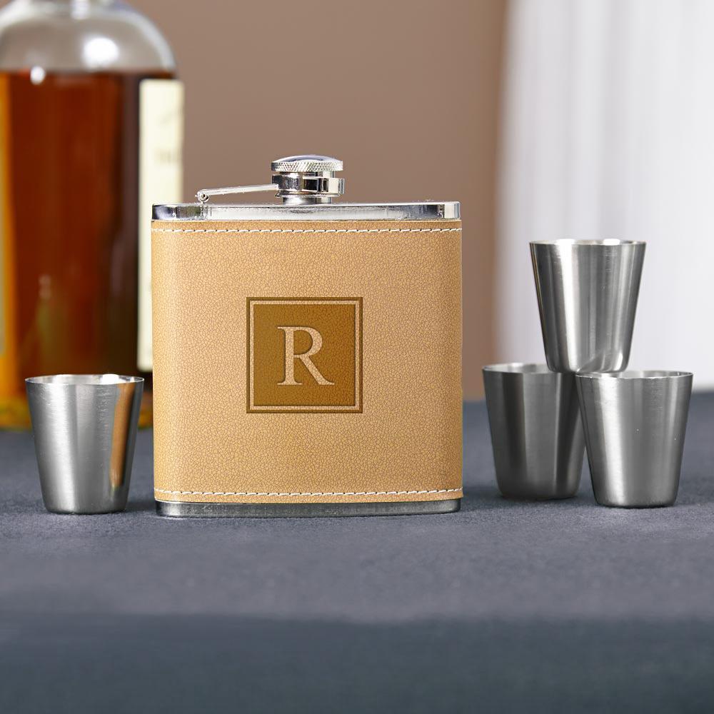 Cocoa-Leather-Block-Monogram-Hip-Flask-Set