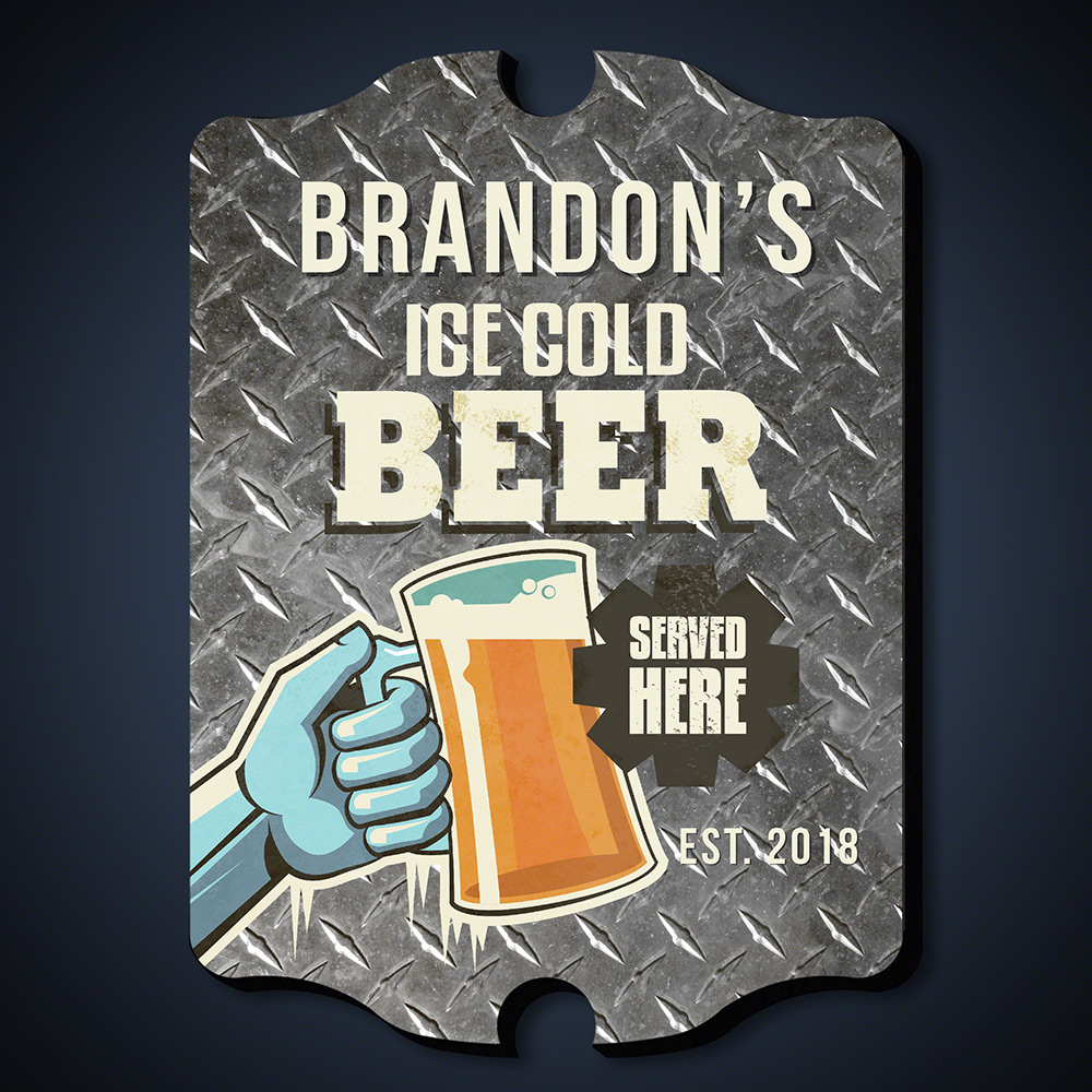 Ice Cold Beer Personalized Man Cave Decor